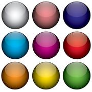 Nine Colorful 3d Orbs Stock Illustration