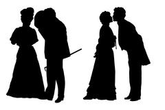 Silhouettes of the man and the woman in clothes of XIX century - stock illustration