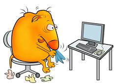Stock Illustration of Creature with a cold, working at office