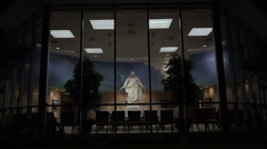 St George Temple Visitor Center night Christus Statue HD Stock Footage