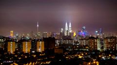 Timelapse (Zoom) Of Night In Kuala Lumpur Stock Footage