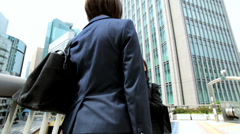 American Asian Japanese Girl Corporate Business Team  Outdoors City - stock footage