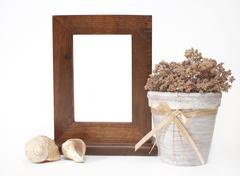 Decorative wooden frame, flowerpot and shells - stock illustration