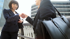 Ethnic Asian Japanese Businesswomen Meeting City Downtown Stock Footage