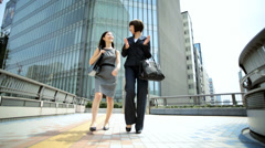 Young American Asian Japanese Girls Business Financial Executives - stock footage