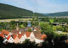 Gemünden am Main, Blick auf Altstadt und Maintal, Deutschland, Bayern - stock photo