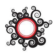 Swirly Foliage Badge - stock illustration