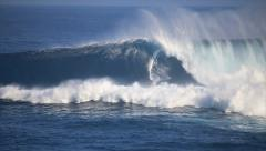 Billy Kemper Huge Barrel at Jaws in Slo Motion 1-19-2014 Stock Footage