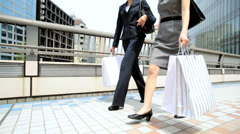 American Asian Japanese Girls Corporate Business Outdoors City Fashion Shopping Stock Footage