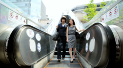 Asian Japanese Females Outdoors Business Successful Financial Career - stock footage