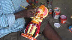 Indian craftsman in Puri make new Lord Jaganath statue Stock Footage