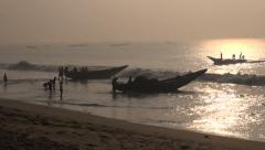 Fishermens and boats silhouette  in Bengal bay, Tamil Nadu,India Stock Footage