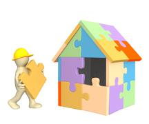 Stock Illustration of 3d working puppet building the house