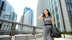 American Asian Japanese Girl Business Financial Executive Smart Phone Client - stock footage