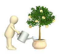 3d puppet, watering monetary tree - stock illustration