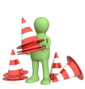 3d puppet with emergency cones Stock Illustration