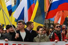 boris nemtsov and ilya yashin on the peace march in support of ukraine - stock photo