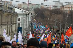 the march of russian opposition against war with ukraine - stock photo