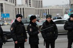 unidentified police on the peace march in support of ukraine - stock photo