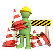 Stock Illustration of 3d puppet with emergency cones
