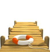 3d lifebuoy on a wooden pier Stock Illustration