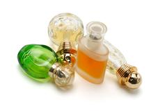 perfume in glass bottles - stock photo