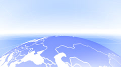 Rotating Earth Globe background on a white grid with horizon Stock Footage