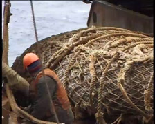 Fishing vessel in the fishery, fishermen pulling trawl - 02 Stock Footage