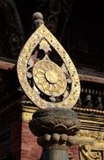 Architectural detail of buddhist monastery -  dharma wheel,Nepal Stock Photos