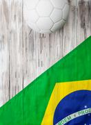 soccer: brasil flag background for international competition - stock photo
