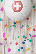 Stock Photo of soccer: switzerland background with confetti