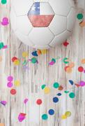 Stock Photo of soccer: chile background with confetti