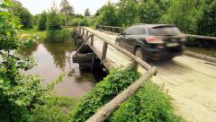 Car on the Bridge - stock footage