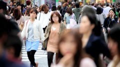 Stock Video Footage of Japanese Metropolis Shibuya pedestrian road crossing  transportation Tokyo