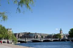 Old bridge in the city of stockholm - capital of sweden Stock Photos