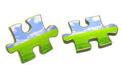 Stock Illustration of Nature concept - 3d puzzles