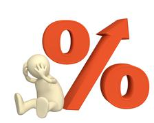 Increase of the interest rate under credits - stock illustration