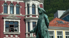 North Europe Norway City of Bergen 019 monument in front of old facades Stock Footage