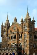 Victoria Terminus buildin in Indian city Mumbai - stock photo