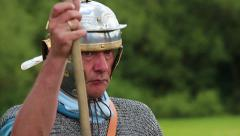 Roman soldier keeps guard Stock Footage