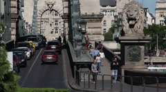 CHAIN BRIDGE TRAFFIC BUDAPEST Stock Footage