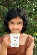 Girl with her morning coffee Stock Photos
