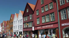 North Europe Norway City of Bergen 005 row of old houses in Bryggen district Stock Footage