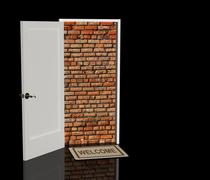 Brick wall in a doorway Stock Illustration