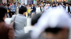 Shibuya pedestrian road crossing intersection Tokyo Metropolis Japan Asia Stock Footage