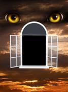 Horror in night - stock illustration