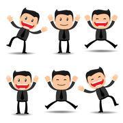 Set of businessman funny character Stock Illustration