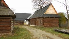 200 years old wooden log houses in Chocholow, Poland 05 Stock Footage