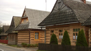 Stock Video Footage of 200 years old wooden log houses in Chocholow, Poland 02
