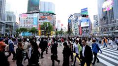 Japanese Metropolis Shibuya pedestrian road crossing  transportation Tokyo Stock Footage